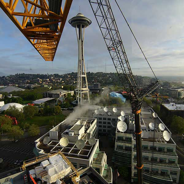 Tower crane operator view of Space Needle